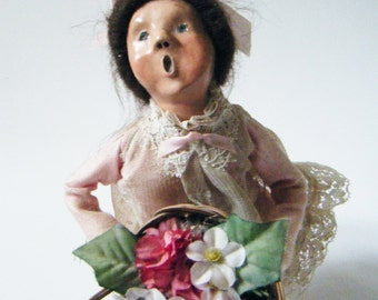 Vintage Caroler Doll Byers Choice Woman Holding Basket of Flowers