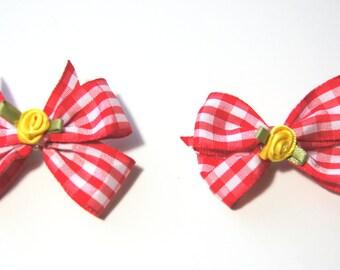 Red Plaid Dog Hair Bows