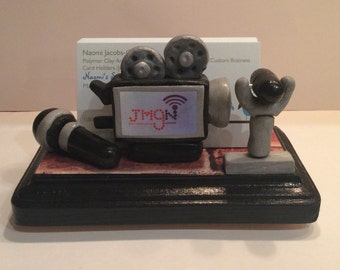 Polymer clay Media business card holder,gift ideas,Christmas gifts,desktop,News Reporter,Broadcasting