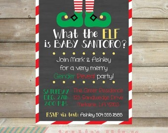 Christmas Baby Gender Reveal Party Invitation, What the Elf, Holiday Baby Gender Reveal Invitation, Red and Green, Chalkboard, Printable