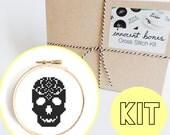 Skull Sugar Pattern Modern Cross Stitch Kit - easy chart design - includes all supplies - DIY embroidery kit gift skull creepy bad taste