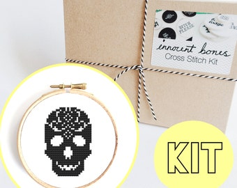 Skull Sugar Pattern Modern Cross Stitch Kit - easy chart design - includes all supplies - DIY embroidery kit gift skull creepy bad taste