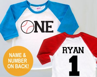 Personalized First Birthday Baseball Jersey -  Baby Toddler Kids Poly Cotton 3/4 Sleeve Baseball Shirt
