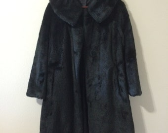 Vintage Long Black Faux Fur Winter Coat