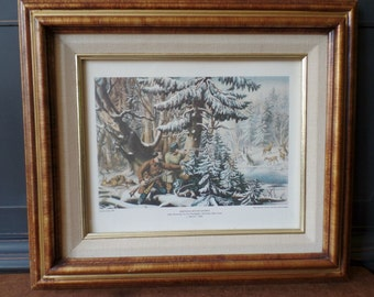 Currier & Ives Framed Print, American Winter Sports, Deer Shooting, Double Mat Wood Frame, Wall Home Decor