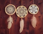 Wholesale!!! 3 Crochet Dream Catchers - Boho Home Decor, Nursery Mobile