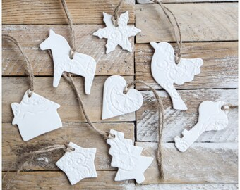 8 Christmas Ornaments White Ceramic Hand made Holiday Tree Decorations Lace texture