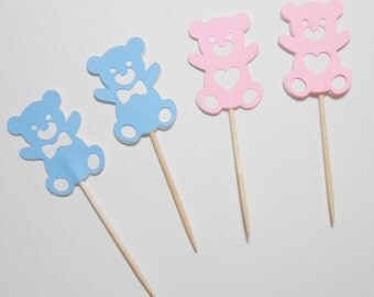 12 or 24 Teddy Bear Cupcake Toppers. Baby Boy, Baby Girl  Baby shower, Table decoration