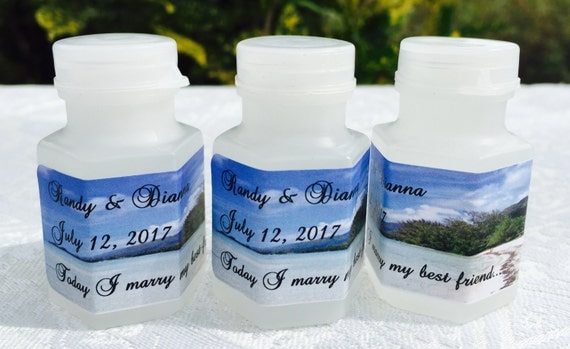 210 TROPICAL BEACH theme Personalized Mini Bubble labels/stickers for Wedding/Anniversary party or event. Make your own cute favors!