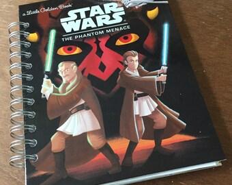 Star Wars The Phantom Menace Little Golden Book Recycled Journal Notebook