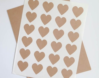 Kraft Labels | 1.5 inch Heart Stickers, Brown Kraft Labels, Ink Jet and Laser Printable for Wedding Invitations, Scrapbooking, Packaging