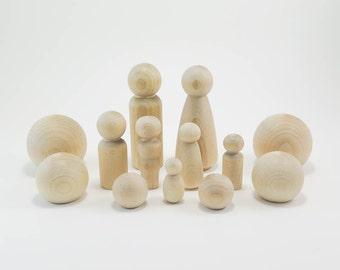 Peg Doll Family Farm Set | Unfinished Wood Peg Doll Kit, Waldorf Wooden Figurines, DIY Peg Doll Set