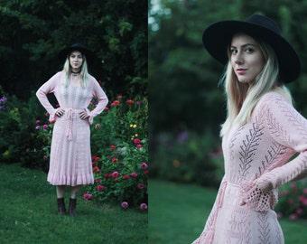 Vintage 1960s Miss Joann XS / S pastel pink knit midi dress w/ pompom belt & flared sleeves / long sleeved / semi-sheer / crochet /