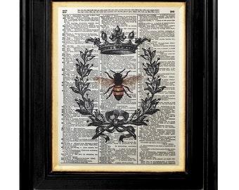 Bee With Crown Art Print, Honey Bee Art Prints, Honey Bee, Queen Bee Mixed Media, 8x10, Dictionary Page Art Prints, Honey Bee Pictures, Bees