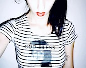 Striped 90's Crop Tee God Bless Kelly Lehman Hipster Free Shipping U.S Grunge Black and White Small Medium Reto Top