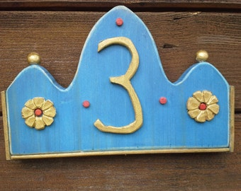 "House number sign ""Blue - gold"""