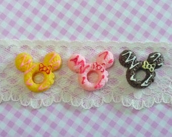 3 pcs/6pcs Mouse Doughnuts with Cream and Bow cabochons, Sweet Dessert,  Miniature Food
