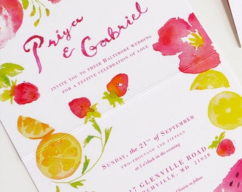 Summer Wedding / lemon, strawberries and peonies wedding invitation, rsvp, program, menu, place cards