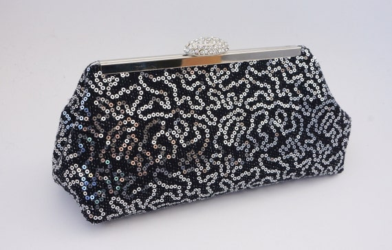 Dazzling Black & Silver Rhinestone Sequin Clutch Purse - Evening/Wedding/Formal/Prom Handbag- Includes Shoulder Chain - Ready to Ship