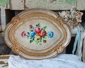 "Gorgeous , rare, vintage hand painted roses with floral oval ornate tray. Measures 13"" X 10.5 "" in excellent condition, Made in Italy."