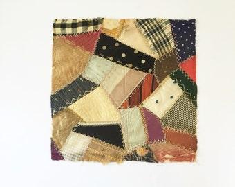 Handmade Quilt Block, Antique Crazy Quilt Fragment, Victorian Quilt Square, Silk Crazy Quilt Sampler, Quilt Stitches, Antique Quilt Block
