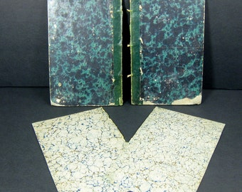 Antique Book Covers - 19th century Book Boards - Heavily Aged Old Vintage Covers for Altered Books - set of 2 front/back