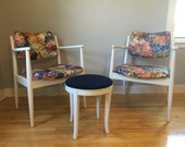 FREE SHIPPING! Floral mid century chairs, white mid century chairs, updated pair of chairs, white wood chairs, wood mid century chairs