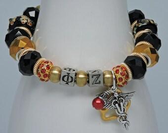 PHI ZETA:  VETERINARY Medicine Honor Society Gold Black European Style Bracelet