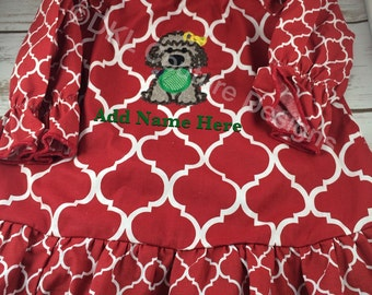 Personalized Red Quatrefoil peasant dress/top with puppy applique with ornament Size 12mth