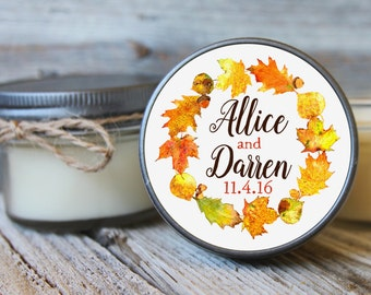 12 - 4 oz Soy Candle Wedding Favors - Fall Wreath Label - Autumn Bridal Shower Favors - Rustic Bridal Shower Favor - Fall Wedding Favor