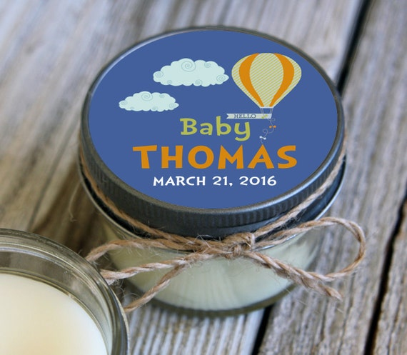 Set of 12 - 4 oz SoyCandle Favor//Hot Air Balloon Baby Shower//Girl Baby Shower//Boy Baby Shower//Balloon Shower Favor//Baby Shower Favor