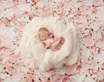 NEW LOWER PRICING + Faster Turnaround! Peach Flower Wall - Vinyl Photography Backdrop Photo Prop