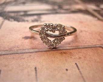 SALE 925 Sterling Silver and CZ Heart Ring