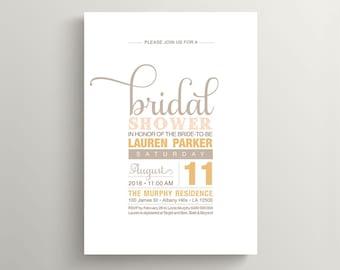Printable Bridal Shower Invitation - Soft Sweet Neutral Tones (BR120)