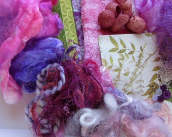 Textile Art and Craft Sample Kit - Fibre Art - Art and Craft Fiber Sample Kit - Pink Bliss