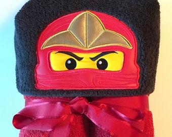 Ninja Hooded Towel, Kids Bath Towel, Toy Hooded Towel