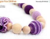 25% off Teething nursing necklace, chew beads in lavender and purple Valentine's Gift