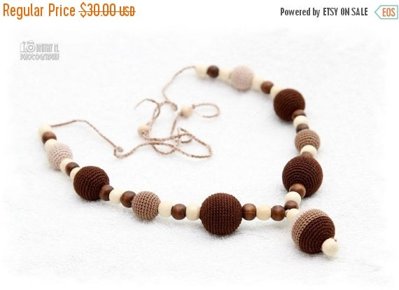 SUPER SALE SALE Breastfeeding Nursing mom necklace Teething necklace - brown,beige,cream, mom accessory.