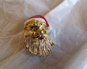 vintage GERRY SANTA Claus PIN brooch gold tone Christmas jewelry