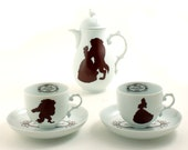Beauty and the Beast Coffee Espresso Set Altered Pot 2 Cups Silhouettes Belle Rose Fairy Tale Beaumont Unique Vintage Porcelain Brown White