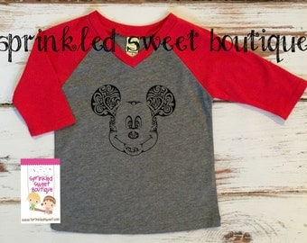 Vintage Scroll Mickey Mouse Inspired Raglan Baseball Shirt Custom Women Kid Child Family Perfect for Disney World Trip First Birthday