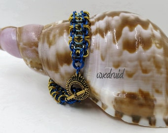 Chainmaille Bracelet, Blue and Gold Gridlock Byzantine Chainmail Bracelet