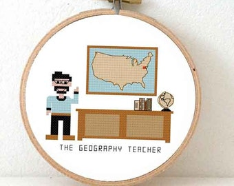 2 x National Geography Teacher Cross Stitch pattern. Unique teacher gifts. Teacher christmas Gift for him.