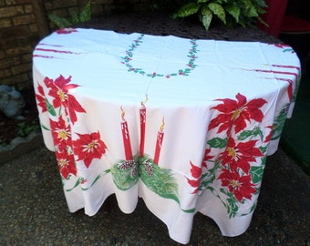 "Vintage Cotton Christmas Holiday Candles Poinsettia Pinecones 60""x80"""" Tablecloth"