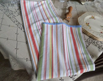 Vintage Multi Colored Striped Standard Sized Cotton Pillow Case with Blue Piping/Trim-Bedding-Long