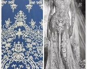 New Ivory Bridal Lace, Ivory Lace, Embroidered Tulle, Ivory Embroidery, Lace Fabric (C10)