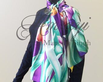 Hand Painted Silk Scarf- Tulips on Scarf