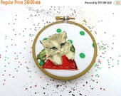 CLOSING SALE - Kitty Christmas Embroidery Hoop Ornament - Merry Cat Holiday Ornament - Light Gray Kitten with Green Polka Dots
