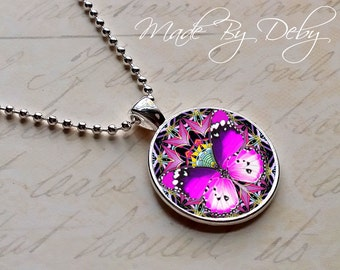 Butterfly Mandala Round Pendant Necklace Silver Chain Choice of Design