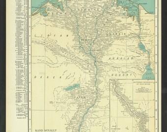 Vintage Map Egypt Original 1921
